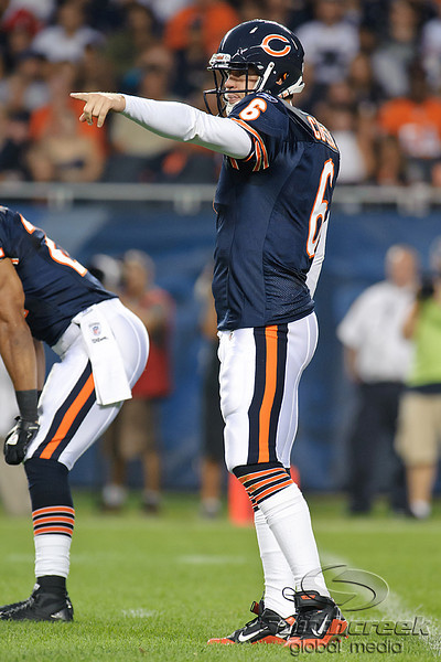 Chicago Bears quarterback Jay Cutler (6) makes a call at the line during the preseason game between the Chicago Bears and the Oakland Raiders at Soldier Field in Chicago, IL. The Raiders defeated the Bears 32-17. <br /> Mandatory Credit: John Rowland / Southcreek Global