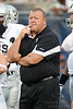 Oakland Raiders head coach Tom Cable watches over his team prior to the preseason game between the Chicago Bears and the Oakland Raiders at Soldier Field in Chicago, IL. The Raiders defeated the Bears 32-17. <br /> Mandatory Credit: John Rowland / Southcreek Global