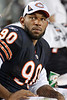 Chicago Bears defensive end Julius Peppers (90) sits on the bench during the 2nd half of the  preseason game between the Chicago Bears and the Oakland Raiders at Soldier Field in Chicago, IL. The Raiders defeated the Bears 32-17. <br /> Mandatory Credit: John Rowland / Southcreek Global