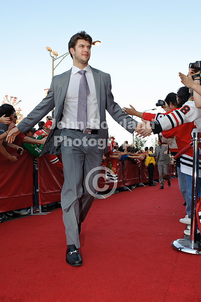 Chicago defenseman Brent Seabrook on the red carpet prior to the home opener NHL game between the Chicago Blackhawks and the Dallas Stars at the United Center in Chicago, IL.