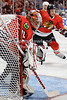 Chicago goalie Ray Emery (30) guards the near post during the NHL game between the Chicago Blackhawks and the Winnipeg Jets at the United Center in Chicago, IL. The Blackhawks defeated the Jets 4-3.