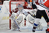 Colorado goalie Semyon Varlamov (1) looks for the puck around a screen during the NHL game between the Chicago Blackhawks and the Colorado Avalanche at the United Center in Chicago, IL. The Avs defeated the Blackhawks 5-4 in a shootout.