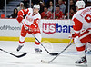 Detroit defenseman Niklas Kronwall (55) passes the puck to right wing Johan Franzen (93) during the NHL game between the Chicago Blackhawks and the Detroit Red Wings at the United Center in Chicago, IL. The Red Wings defeated the Blackhawks 3-2 in overtime.