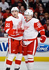 Detroit left wing Jiri Hudler (26) congratulates Detroit center Valtteri Filppula (51) after his 1st period goal during the NHL game between the Chicago Blackhawks and the Detroit Red Wings at the United Center in Chicago, IL. The Blackhawks defeated the Red Wings 2-1.