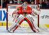 Chicago goalie Corey Crawford (50) prepares for a shot during the NHL game between the Chicago Blackhawks and the Detroit Red Wings at the United Center in Chicago, IL. The Blackhawks defeated the Red Wings 2-1.