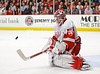 Detroit goalie Jimmy Howard (35) makes a save during the NHL game between the Chicago Blackhawks and the Detroit Red Wings at the United Center in Chicago, IL. The Blackhawks defeated the Red Wings 2-1.