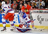 New York goalie Henrik Lundqvist (30) is unable to stop a shot by Chicago center Andrew Shaw (not pictured) during the NHL game between the Chicago Blackhawks and the New York Rangers at the United Center in Chicago, IL. The Blackhawks defeated the Rangers 4-3.