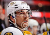 Nashville defenseman Jack Hillen (38) watches from the bench during the NHL game between the Chicago Blackhawks and the Nashville Predators at the United Center in Chicago, IL. The Predators defeated the Blackhawks 3-1.