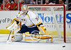 Nashville goalie Pekka Rinne (35) makes a save during the NHL game between the Chicago Blackhawks and the Nashville Predators at the United Center in Chicago, IL. The Predators defeated the Blackhawks 3-1.