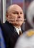 Nashville head coach Barry Trotz watches from the bench during the NHL game between the Chicago Blackhawks and the Nashville Predators at the United Center in Chicago, IL. The Predators defeated the Blackhawks 3-1.