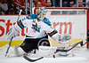 San Jose goalie Antti Niemi (31) makes a save during the NHL game between the Chicago Blackhawks and the San Jose Sharks at the United Center in Chicago, IL. The Blackhawks defeated the Sharks 3-2 in overtime.