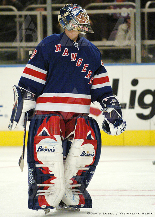 NEW YORK, Feb. 21, 2004 — New York Rangers goaltender Jussi Markkanen, Saturday afternoon at Madison Square Garden during a 7-3 loss to the New Jersey Devils.