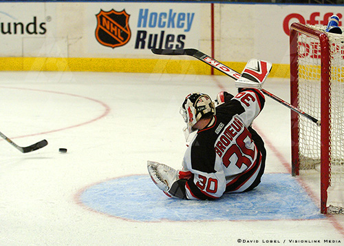 Hockey: Devils vsNEW YORK, Feb. 21, 2004 — New Jersey Devils goaltender Martin Brodeur makes a save against the New York Rangers, Saturday afternoon at Madison Square Garden. The Devils won 7-3.<br />  Rangers