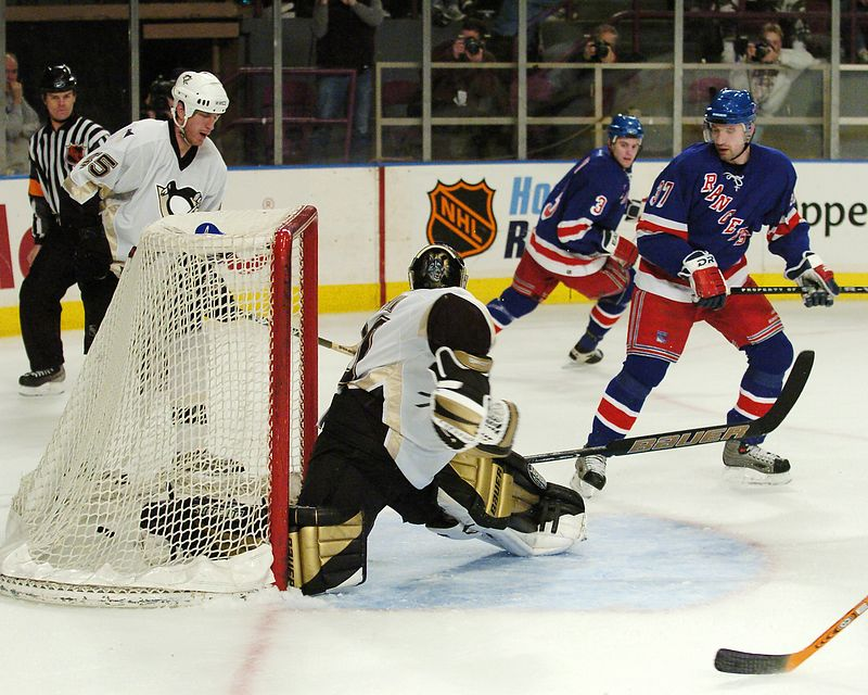 NEW YORK, MAR 7, 2004 -  With 2.3 seconds left in the second period, NY Ranger Right Winger Matthew Barnaby scores his 12th goal of the season and his second of the evening to tie the game at 4-4.