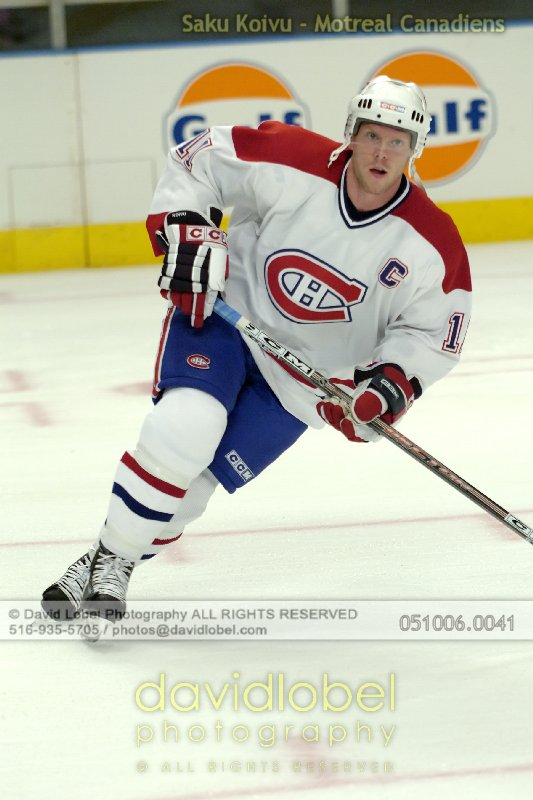 NEW YORK, NY - October 6, 2005: Saku Koivu of the Montreal Canadiens hosted by the New York Rangers at Madison Square Garden in New York.
