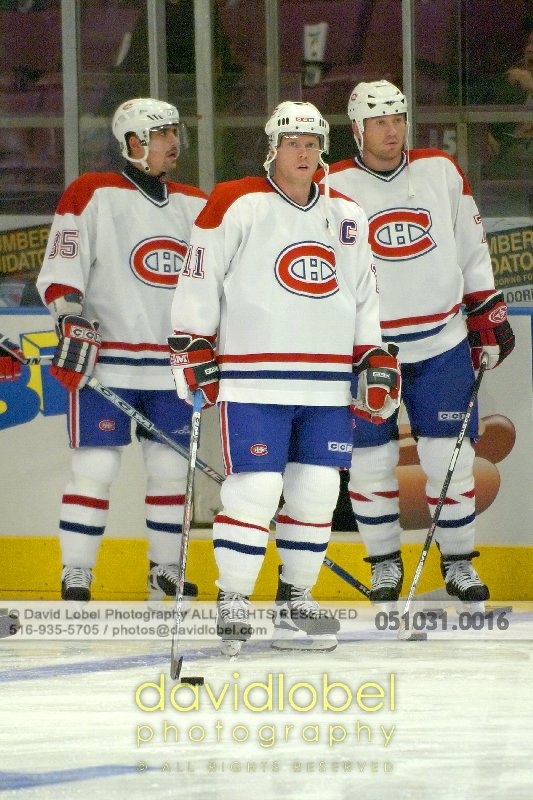MANHATTAN, NY - October 31, 2005: Tomas Plekanec (#35 Left), Mark Streit (#32 Center) and (???) of the The Montreal Canadiens.