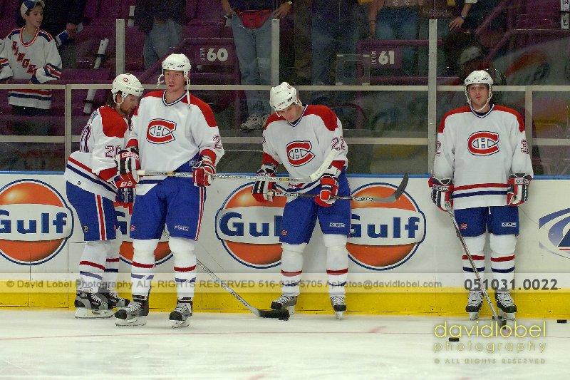 MANHATTAN, NY - October 31, 2005: Richard Zednik (#20), (???), Steve Begin (#22) and Mark Streit (#32) of the The Montreal Canadiens.