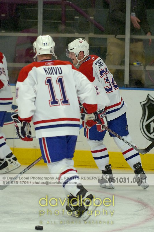 MANHATTAN, NY - October 31, 2005: Mark Streit (#32) and Saku Koivu (#11) of the The Montreal Canadiens.
