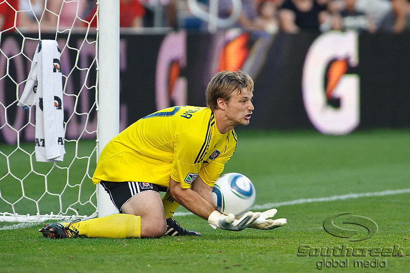 30 May2010:  Chicago Fire goalkeeper Andrew Dykstra (40) makes a save on a freekick attempt by AC Milan's Ronaldinho (not pictured) during the friendly match between the Chicago Fire and AC Milan at Toyota Park in Bridgeview, Illinois.  AC Milan defeated the Fire 1-0.<br /> Mandatory Credit: John Rowland / Southcreek Global