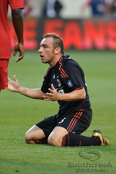 30 May2010:  AC Milan midfielder Christian Brocci (88) pleads to the referee for a foul during the friendly match between the Chicago Fire and AC Milan at Toyota Park in Bridgeview, Illinois.  AC Milan defeated the Fire 1-0.<br /> Mandatory Credit: John Rowland / Southcreek Global