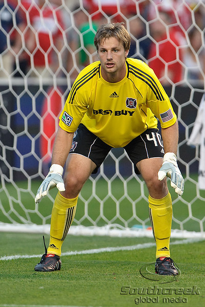 30 May2010:  Chicago Fire goalkeeper Andrew Dykstra (40) prepares for an AC Milan cross into the box during the friendly match between the Chicago Fire and AC Milan at Toyota Park in Bridgeview, Illinois.  AC Milan defeated the Fire 1-0.<br /> Mandatory Credit: John Rowland / Southcreek Global