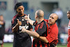 30 May2010:  AC Milan's Ronaldinho (80) acknowledges a fan being taken off the field by security during the friendly match between the Chicago Fire and AC Milan at Toyota Park in Bridgeview, Illinois.  AC Milan defeated the Fire 1-0.<br /> Mandatory Credit: John Rowland / Southcreek Global