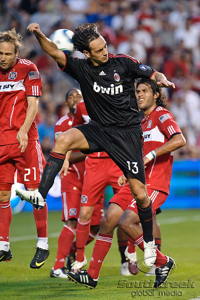 30 May2010:  AC Milan defenseman Alessandro Nesta (13) tries to head a corner kick toward the Chicago Fire goal during the friendly match between the Chicago Fire and AC Milan at Toyota Park in Bridgeview, Illinois.  AC Milan defeated the Fire 1-0.<br /> Mandatory Credit: John Rowland / Southcreek Global