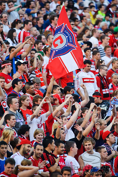 30 May2010:  Chciago Fire fans chant and sing during the friendly match between the Chicago Fire and AC Milan at Toyota Park in Bridgeview, Illinois.  AC Milan defeated the Fire 1-0.<br /> Mandatory Credit: John Rowland / Southcreek Global