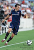 17 July10:  New England midfielder Marko Perovic (29) looks to cross the ball to a teammate during the Group B SuperLiga match between the Chicago Fire and the New England Revolution at Toyota Park in Bridgeview, Illinois. The Revolution defeated the Fire 1-0.<br /> Mandatory Credit: John Rowland / Southcreek Global