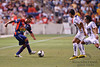 17 July10:  Morelia defender Jose Cruzalta tries to get past Pumas players during the Group B SuperLiga match between Monarcas Morelia and Pumas UNAM at Toyota Park in Bridgeview, Illinois. The teams played to a 2-2 draw.<br /> Mandatory Credit: John Rowland / Southcreek Global
