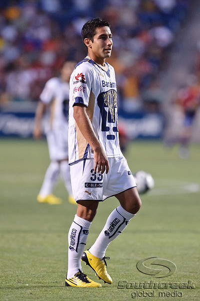 17 July10:  Pumas defender Luis Fuentes (33) warms up prior to the Group B SuperLiga match between Monarcas Morelia and Pumas UNAM at Toyota Park in Bridgeview, Illinois. The teams played to a 2-2 draw.<br /> Mandatory Credit: John Rowland / Southcreek Global