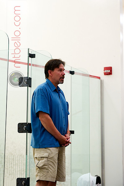John Nimick introducing the exhibition match.