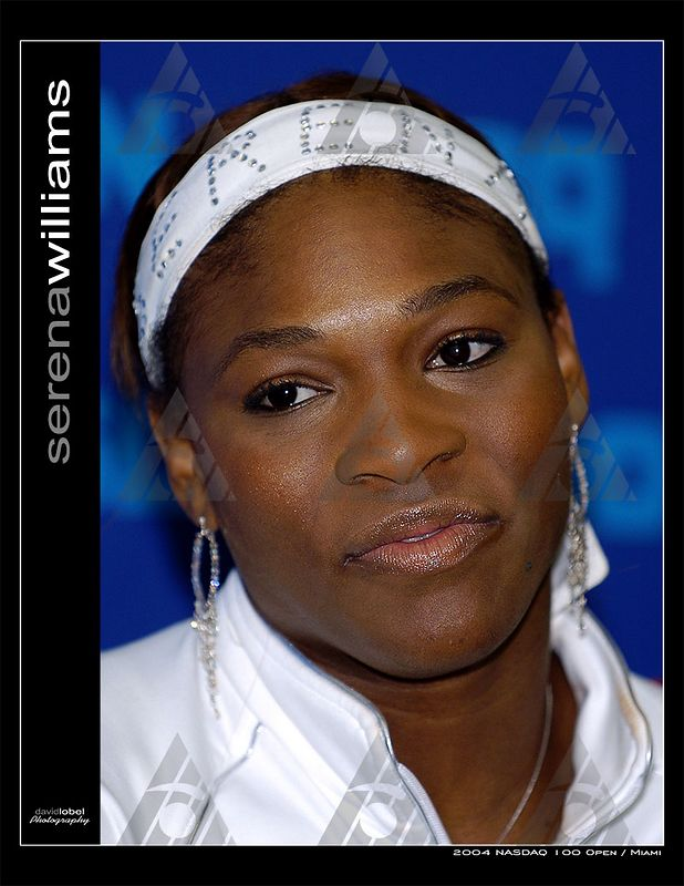 MIAMI Florida, March 28, 2004: USA's first seed Serena Williams (pictured) answers questions from the miedia after she squeezed past 31st seed Elena Likhovtseva from Russia 6-1, 4-6, 6-3 to advance into the fourth round of the 2004 NASDAQ-100 Open in Miami.