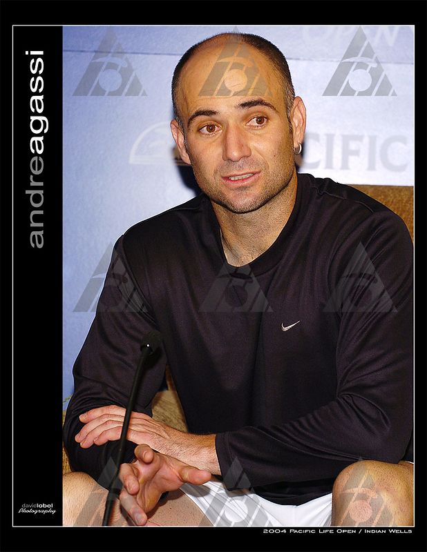 INDIAN WELLS, CA - MAR 11, 2004: Andrew Agassi sits down with the press and and answers questions on his career, drug abuse and Steffi's induction into the Tennis Hall of Fame.