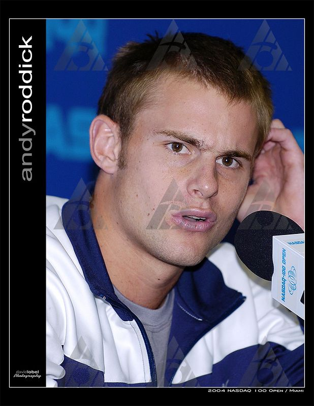 MIAMI Florida, March 25, 2004: Second seed Andy Roddick from the USA answers questions from the press at the 2004 NASDAQ 100 Open in Miami.