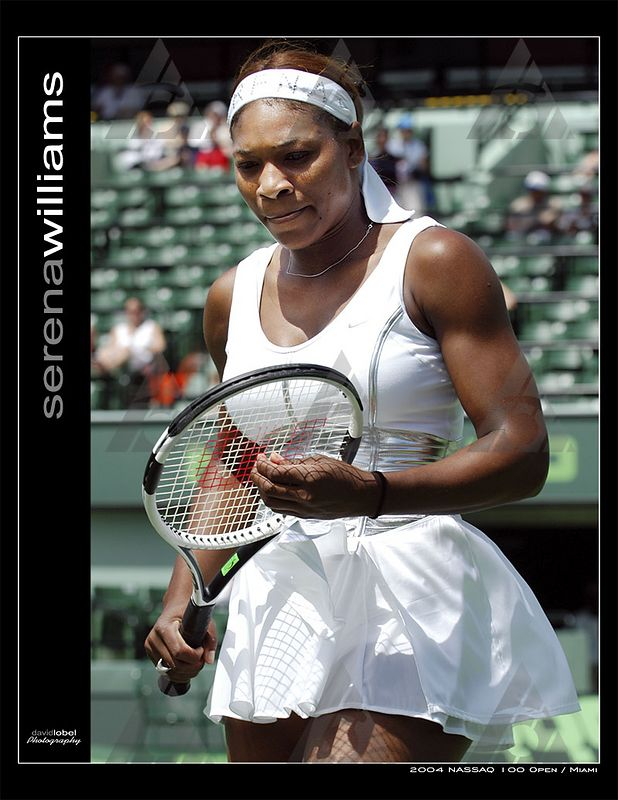 MIAMI Florida, March 26, 2004: First seed Serena Williams from the USA (pictured) advances past Spain's Marta Marrero 6-1, 6-0 to advance her into the third round of the 2004 NASDAQ-100 Open in Miami.