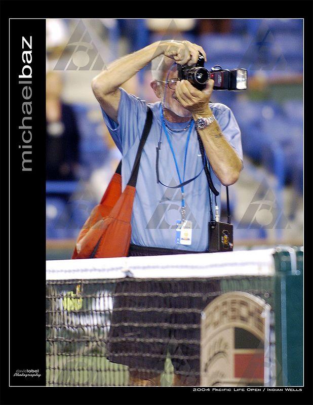 INDIAN WELLS, CA - MAR 2004: Michael Baz, the official tournament photographer at Indian Wells.