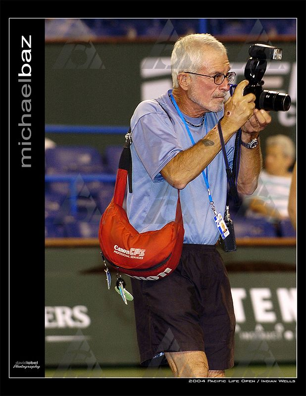 INDIAN WELLS, CA - MAR 2004: Michael Baz, the official tournament photographer at Indian Wells.