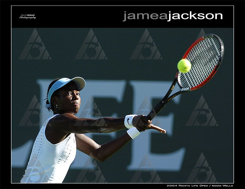 INDIAN WELLS, CA - MAR 11, 2004: WTA First round action. Jamea Jackson (pictured) of the USA retires after a tough battle to Marissa Irvin also of the USA in the third set 6-2, 6-7, 0-1.