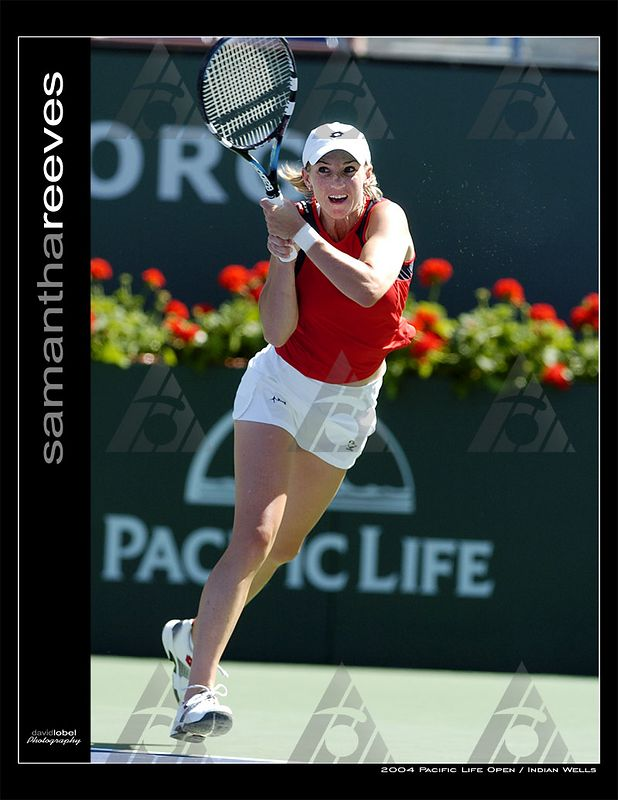 INDIAN WELLS, CA - MAR 13, 2004: Number one seed Justine Henin-Hardenne of Belgium defeated USA's Samantha Reeves (pictured) in straight sets 6-2, 6-2. Ms. Henin-Hardenne moved on to win the WTA singles title of the 2004 Pacific Life Open at Indian Wells.