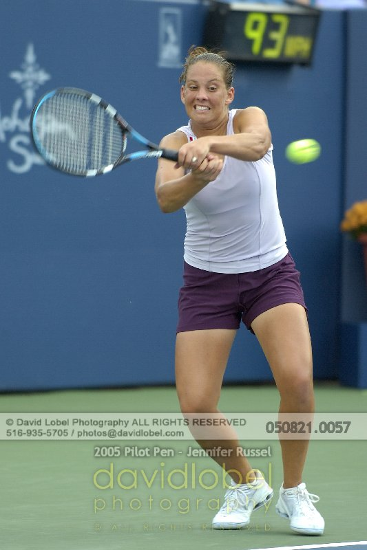 NEW HAVEN, CT - August 21, 2005: Pilot Pen Women's Doubles Qualifying Rounds. Eleni Daniilidou [GRE] & Jennifer Russell (Pictured) [USA] def. Jill Craybas [USA] & Carly Gullickson [USA] 2-6, 6-3, 6-1 to advance into the Woman's Doubles main draw.