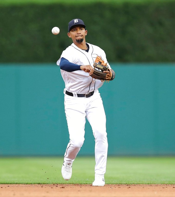 . Detroit Tigers shortstop Dixon Machado throws to first during the third inning of a baseball game against the Oakland Athletics, Tuesday, June 26, 2018, in Detroit. (AP Photo/Carlos Osorio)