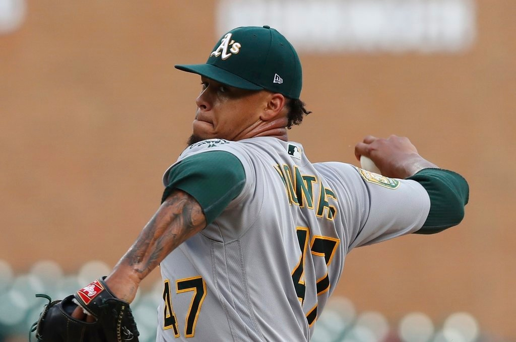 . Oakland Athletics starting pitcher Frankie Montas throws during the first inning of the team\'s baseball game against the Detroit Tigers, Tuesday, June 26, 2018, in Detroit. (AP Photo/Carlos Osorio)