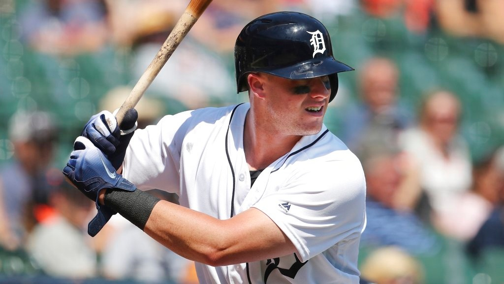 . Detroit Tigers catcher James McCann warms up during the ninth inning of a baseball game against the Oakland Athletics, Thursday, June 28, 2018, in Detroit. (AP Photo/Carlos Osorio)