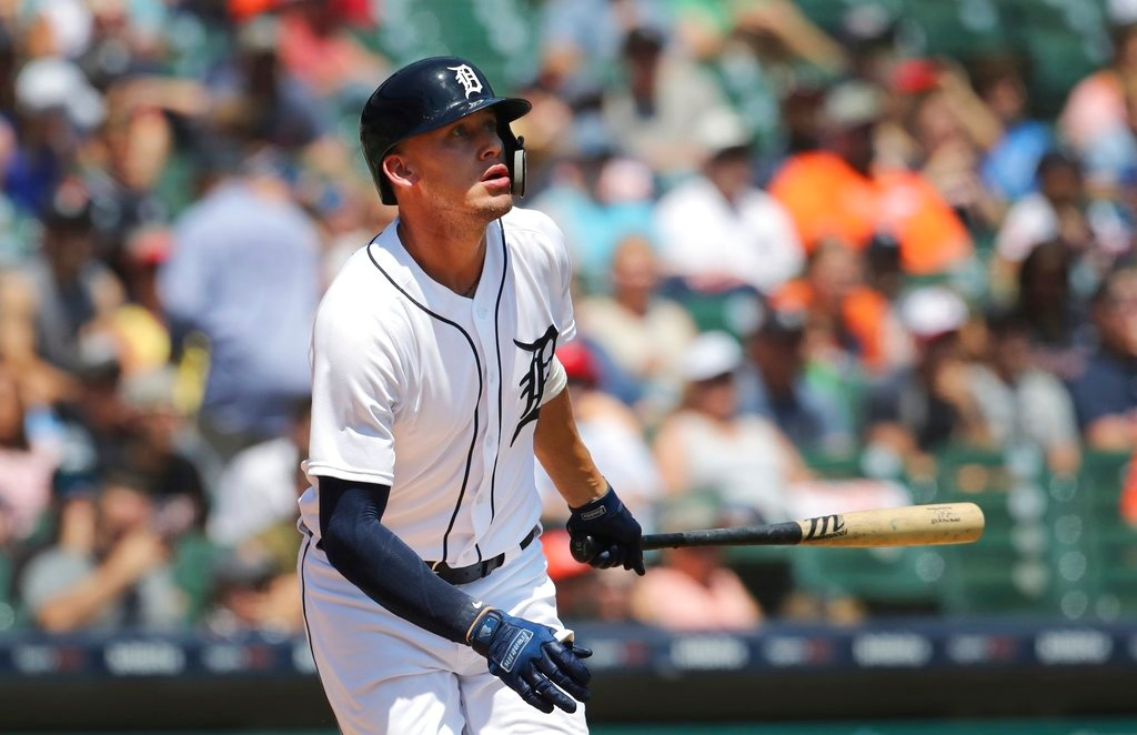 . Detroit Tigers\' JaCoby Jones watches his line out to Oakland Athletics right fielder Stephen Piscotty during the fifth inning of a baseball game, Thursday, June 28, 2018, in Detroit. (AP Photo/Carlos Osorio)