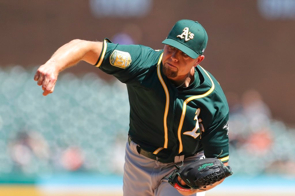 . Oakland Athletics relief pitcher Blake Treinen throws during the ninth inning of a baseball game against the Detroit Tigers, Thursday, June 28, 2018, in Detroit. (AP Photo/Carlos Osorio)