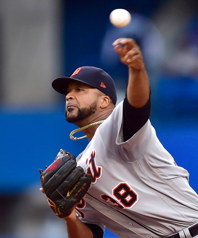 . Detroit Tigers starting pitcher Francisco Liriano throws to a Toronto Blue Jays batter during the first inning of a baseball game Friday, June 29, 2018, in Toronto. (Frank Gunn/The Canadian Press via AP)