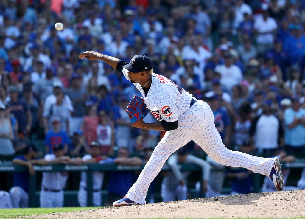. Chicago Cubs relief pitcher Pedro Strop delivers during the ninth inning of a baseball game against the Detroit Tigers Tuesday, July 3, 2018, in Chicago. The Cubs won 5-3. (AP Photo/Charles Rex Arbogast)