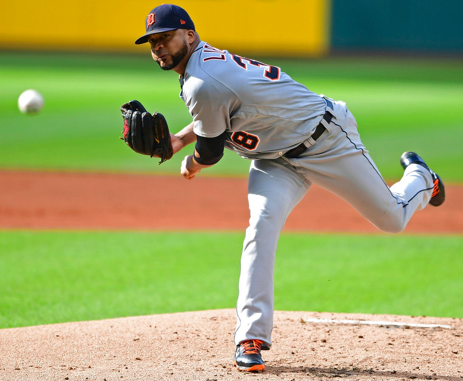 . Detroit Tigers starting pitcher Francisco Liriano delivers in the first inning of the team\'s baseball game against the Cleveland Indians, Saturday, June 23, 2018, in Cleveland. (AP Photo/David Dermer)