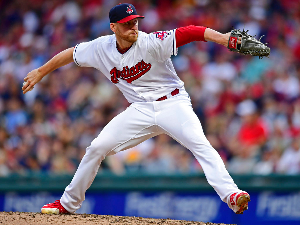 . Cleveland Indians relief pitcher Neil Ramirez delivers in the eighth inning of a baseball game against the Detroit Tigers, Saturday, June 23, 2018, in Cleveland. (AP Photo/David Dermer)